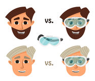 Researcher, research laboratory safety glasses or goggles. Vector. Illustration Stock Photo
