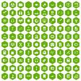 100 researcher science icons hexagon green Royalty Free Stock Image