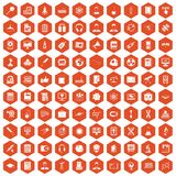 100 researcher science icons hexagon orange Royalty Free Stock Photo
