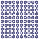100 researcher science icons hexagon purple. 100 researcher science icons set in purple hexagon isolated vector illustration Stock Image