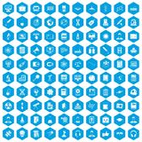 100 researcher science icons set blue. 100 researcher science icons set in blue hexagon isolated vector illustration stock illustration