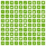 100 researcher science icons set grunge green Royalty Free Stock Photos