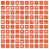 100 researcher science icons set grunge orange. 100 researcher science icons set in grunge style orange color isolated on white background vector illustration Stock Image