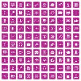 100 researcher science icons set grunge pink. 100 researcher science icons set in grunge style pink color isolated on white background vector illustration Stock Image