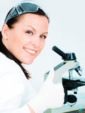 researcher show thumb up in laboratory Stock Images