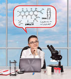 Researcher woman thinking Stock Photography