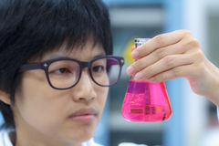 Researcher working with chemical Royalty Free Stock Images