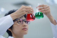 Researcher working with chemical Stock Image