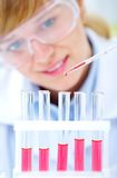 Researcher working with chemicals Royalty Free Stock Images