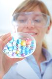 Researcher working with chemicals Stock Photos