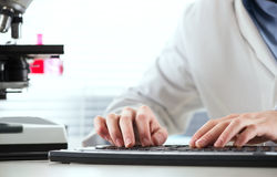 Researcher working at computer Royalty Free Stock Image