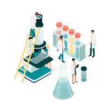 Science and research. Researchers in the laboratory, they are analyzing a sample using a microscope and checking test tubes: science and medical research concept Royalty Free Stock Photo