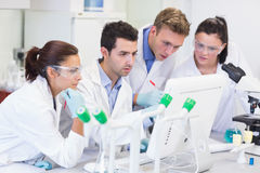 Researchers looking at computer screen in the lab Stock Images