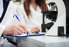 Researchers taking notes in a laboratory. Researchers at work in a chemical laboratory stock photo