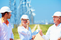 Researchers at work  on wind power station Royalty Free Stock Photography
