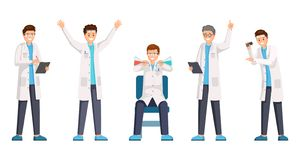 Researches Flat Vector Characters Set. Happy Researchers Wearing White Coats Cartoon Characters. Cheerful Lab Workers Stock Image