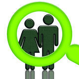 Researching People. Green magnifier investigating people, woman and man  holding hands, illustration isolated over white background Royalty Free Stock Photography