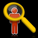 Researching person. Abstract person under magnifier glass over black background Stock Photo