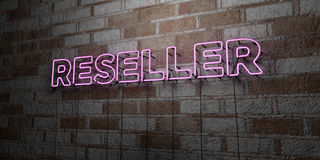 RESELLER - Glowing Neon Sign on stonework wall - 3D rendered royalty free stock illustration Royalty Free Stock Images