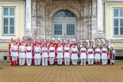 RESEN, MACEDONIË - NOVEMBER 25: Leden die van volksgroep Tashe Miloshevski, in werf van stellen goed - de bekende bouw Saray in M Royalty-vrije Stock Foto