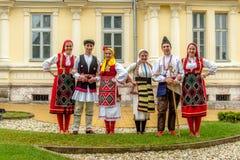 RESEN, MACEDONIA - NOVEMBER 25:Members of folk group Tashe Miloshevski , posing in yard of a well known building Saray in Macedoni Stock Image