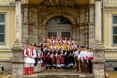 RESEN, MACEDONIA - NOVEMBER 25:Members of folk group Tashe Miloshevski , posing in yard of a well known building Saray in Macedoni Royalty Free Stock Photography