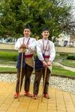 RESEN, MACEDONIA - NOVEMBER 25:Members of folk group Tashe Miloshevski , posing in yard of a well known building Saray in Macedoni Royalty Free Stock Images