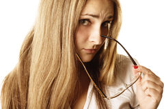 Resentment. Pretty fair-haired young woman with resentment facial expression Stock Photography