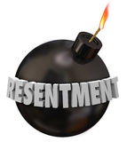 Resentment 3d Word Black Round Bomb Anger Bitter Grudge Feeling. Resentment 3d letters word on a black round bomb to illustrate danger or warning for anger, envy Royalty Free Stock Image