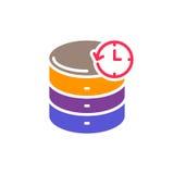 Reserv- färgrik symbol för databas, plant tecken för vektor vektor illustrationer