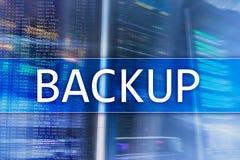 Reserv- knapp på modern serverrumbakgrund Dataförlustförhindrande Systemåterställning stock illustrationer
