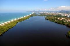 Reserva Beach. Rio de Janeiro, August 12, 2014. Aerial photo of the reserve beach with the Marapendi lagoon, located in the western zone of the city of Rio de Stock Image