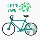 Reserva de la bicicleta de la ecología el concepto de la tierra Imágenes de archivo libres de regalías