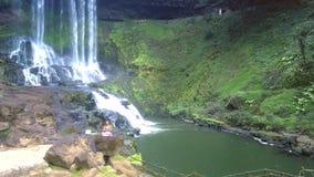 Reserva de naturaleza de la visión aérea con el río y la cascada metrajes