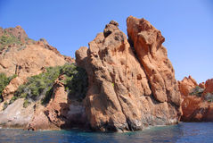 A reserva de natureza de Scandola, Córsega, France Imagens de Stock