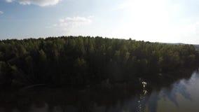 Reserva del lago sanctuary, aérea Reserva de Naroch de Bielorrusia almacen de metraje de vídeo