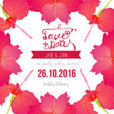 Reserva del trópico que la tarjeta de fecha con el hibisco florece Fotografía de archivo libre de regalías