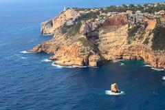 A reserva do mar de San Antonio Cape Farol Denia, Espanha Foto de Stock