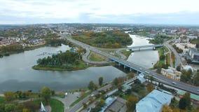 Reserva do museu de Yaroslavl no nascer do sol Panorama Aero à parte central da cidade verão vídeos de arquivo