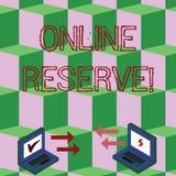 Reserva en línea del texto de la escritura El significado del concepto permite a clientes comprobar disponibilidad y la flecha en foto de archivo libre de regalías