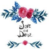 Reserva floral del diseño del marco de la acuarela la fecha con Imagen de archivo libre de regalías