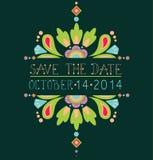 Reserva floral la tarjeta de la invitación de la fecha Imagen de archivo libre de regalías