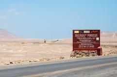 Reserva nacional de Paracas, Ica Region, Peru Deserto de Paracas Deserto de Atacama Entrada à reserva nacional de Paracas fotografia de stock