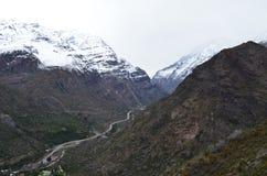Reserva nacional de RÃo Blanco, Chile central, un alto valle de la biodiversidad en Los los Andes foto de archivo libre de regalías