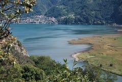 Reserva natural del lago Mezzola Foto de archivo libre de regalías
