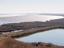 Reserva natural do feltro de lubrificação de Fingringhoe fora do campo do país aberto do espaço do fundo da paisagem fotos de stock royalty free