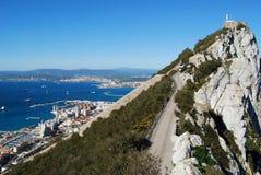 Reserva natural e cidade superiores da rocha de Gibraltar Fotografia de Stock Royalty Free