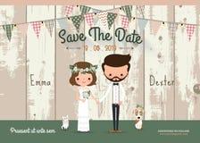 Reserva rústica de la boda de las flores de la asta la tarjeta de la invitación de la fecha ilustración del vector