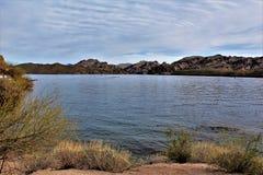 Reservatório do lago Saguaro, Maricopa County, o Arizona, Estados Unidos Fotografia de Stock Royalty Free