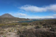 Reservatório em Argentina, Volcano Background Imagens de Stock Royalty Free
